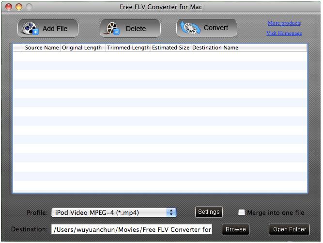 Free FLV Converter for Mac screenshot