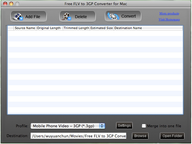 Free FLV to 3GP Converter for Mac screenshot