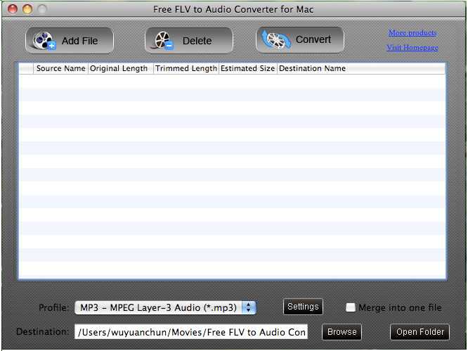 Free FLV to Audio Converter for Mac screenshot