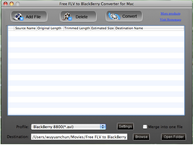 Free FLV to BlackBerry Converter for Mac screenshot