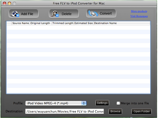 Free FLV to iPod Converter for Mac screenshot