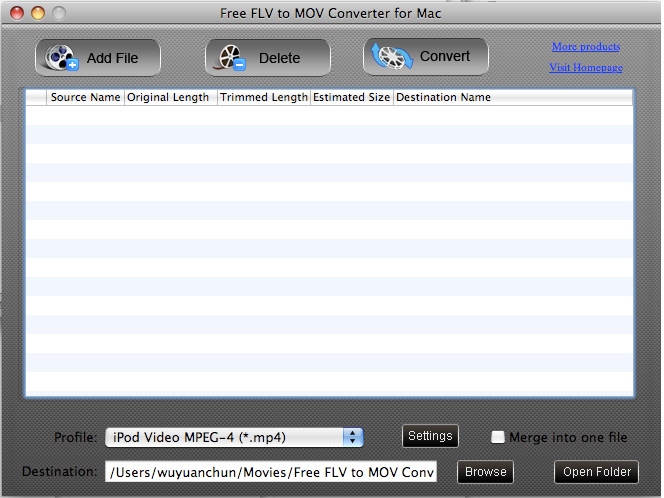 Free FLV to MOV Converter for Mac screenshot