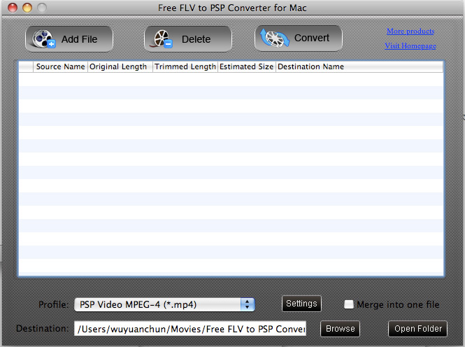 Free FLV to PSP Converter for Mac