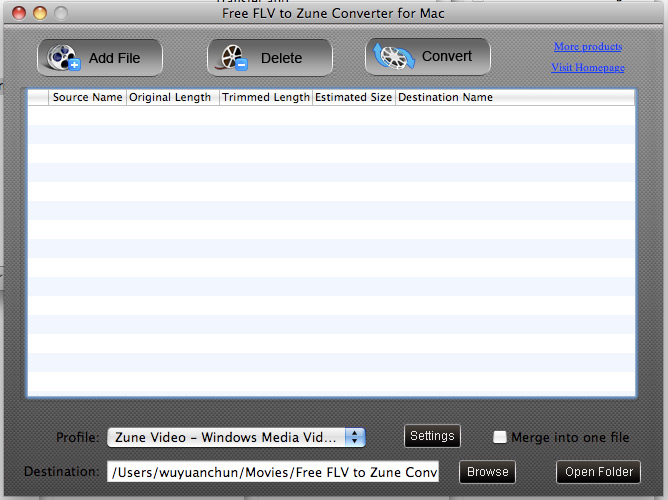 Free FLV to Zune Converter for Mac