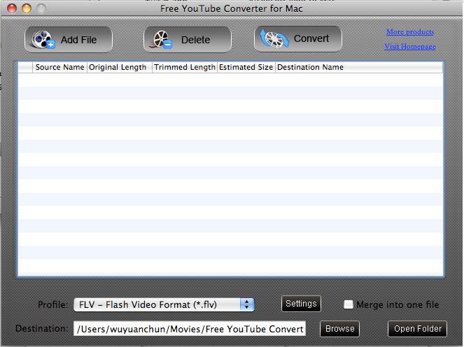 Screenshot of Free YouTube Converter for Mac